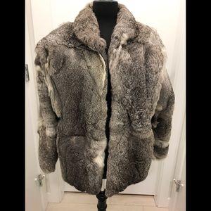 Women's grey fur coat S